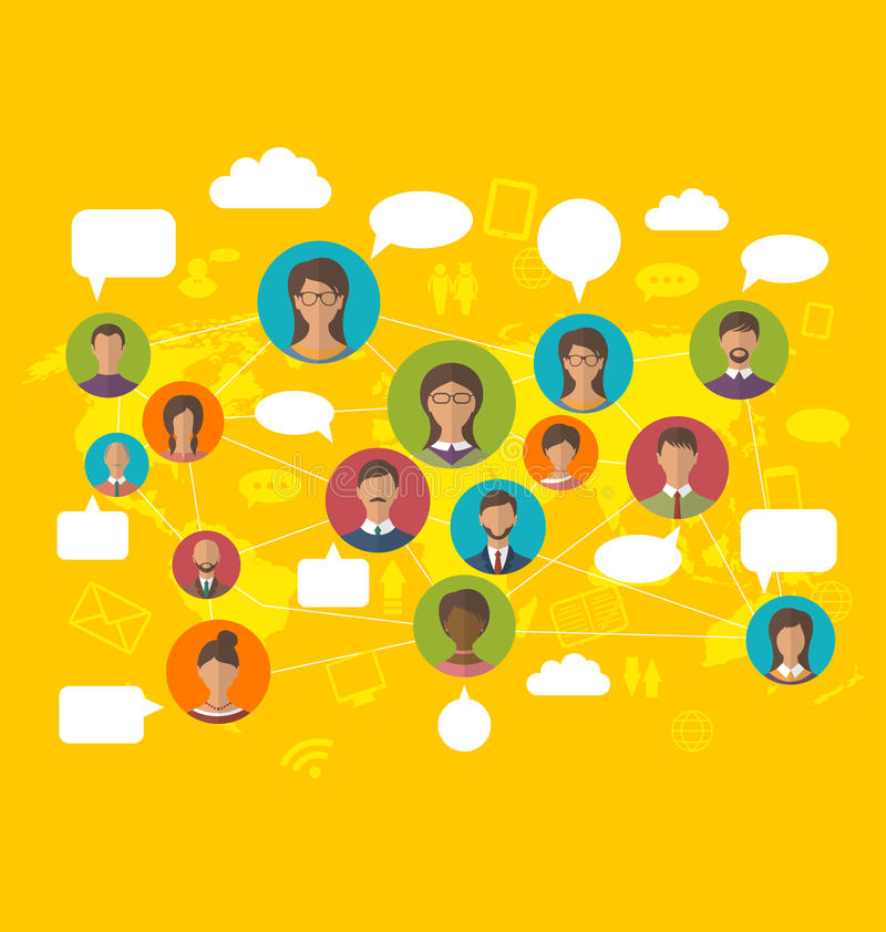 Social Network Concept on World Map with People Icons Avatars. Illustration Social Network Concept on World Map with People Icons Avatars, Modern Flat Design stock illustration
