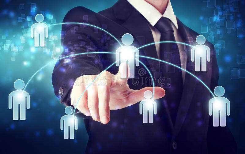 Social Network Concepts. Businessman with Social Network Concepts