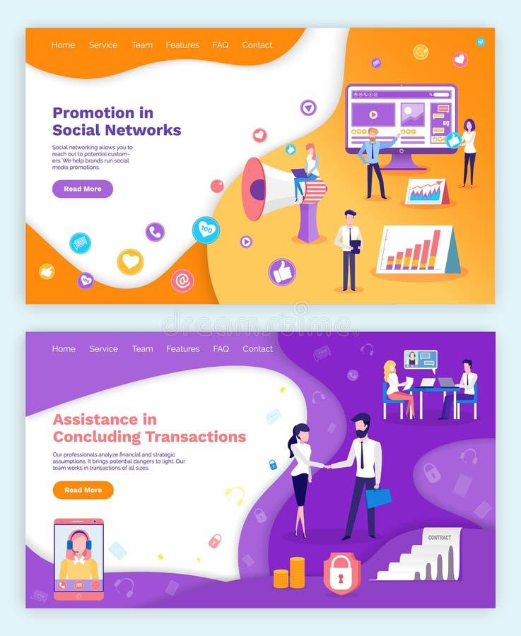 Social Network, Concluding Transaction Assistance stock illustration