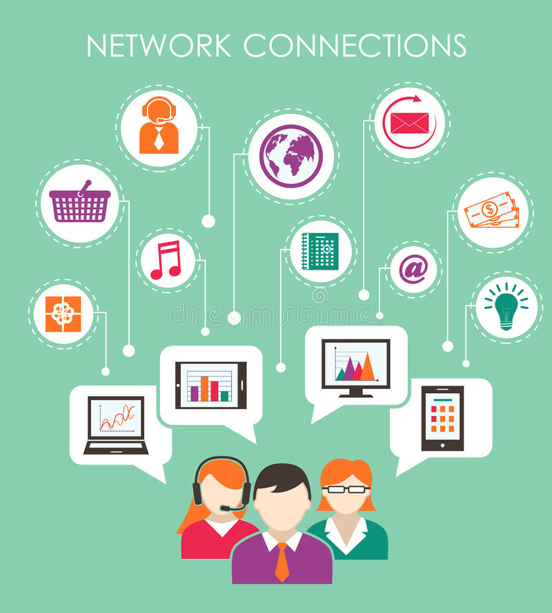 Social network connection concept stock illustration