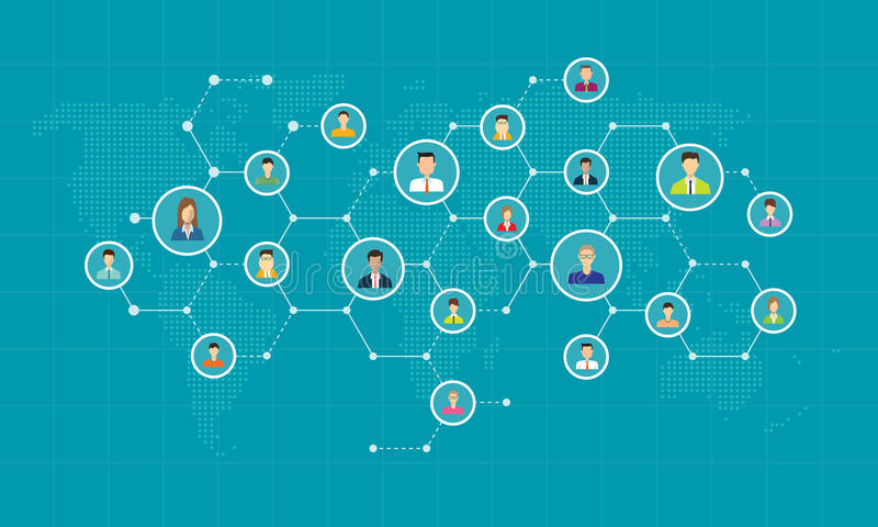 Social network connection for online business background. Concept vector illustration