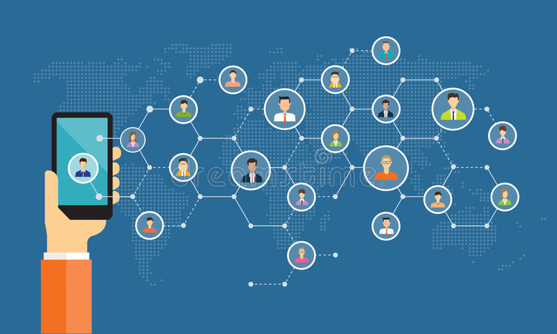 Social network connection for online business background. Concept stock illustration
