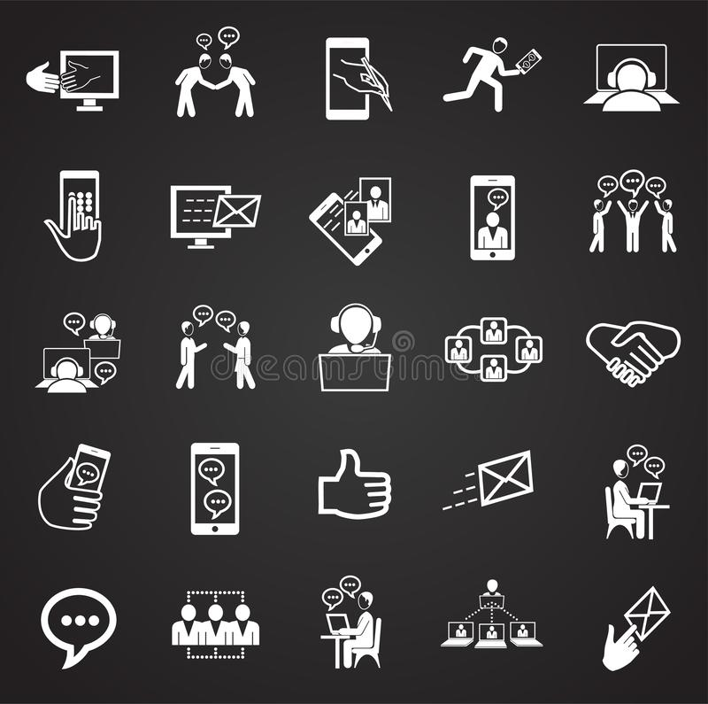 Social network and connections on black background stock illustration