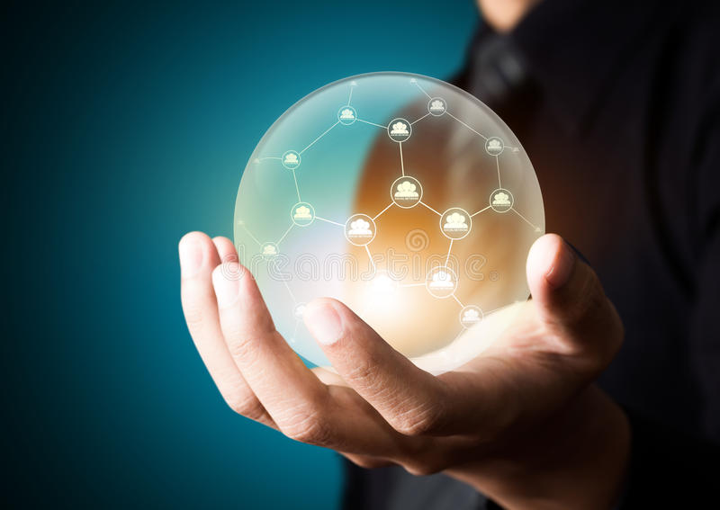 Social network in crystal ball. Business people holding social network in crystal ball vector illustration