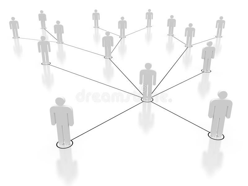 Social network. 3D diagram of male icons in social network web royalty free illustration