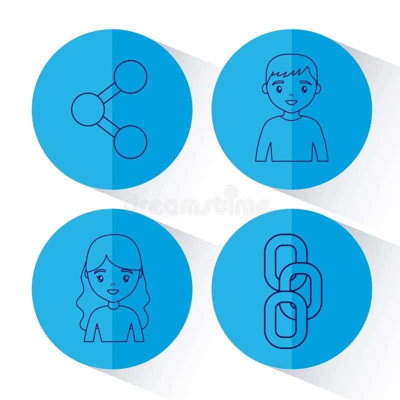 Social network design stock illustration
