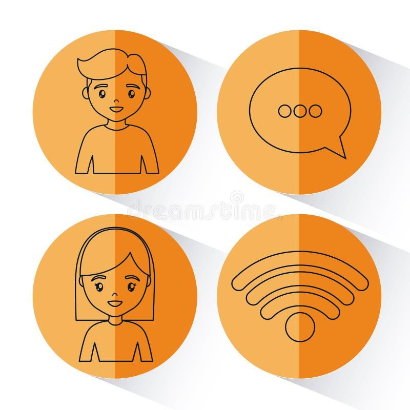 Social network design royalty free illustration