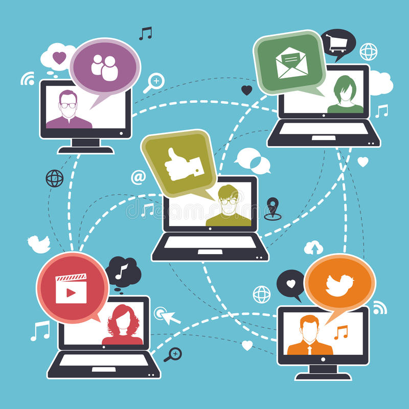 Social network. Design with computer, laptop and  icon stock illustration