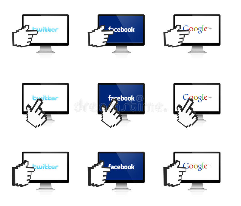 Social network on the display with 3D hand vector illustration