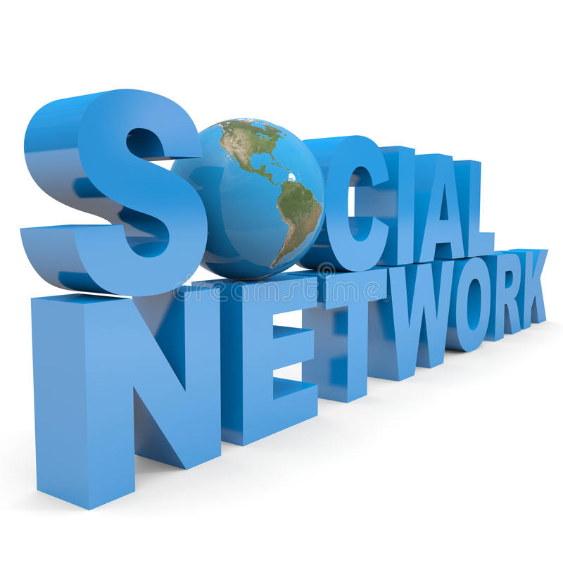 Social Network. Earth globe replacing letter O.
