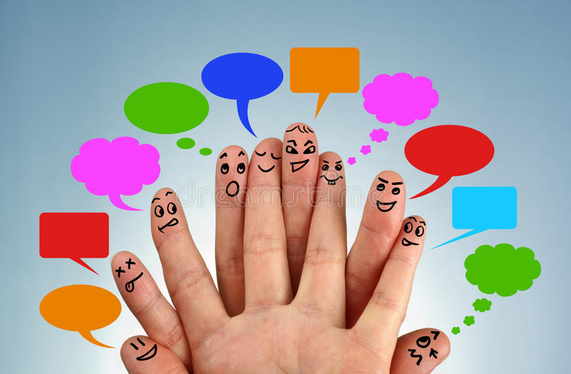 Social network family. Concept finger people in discussion with speech bubbles