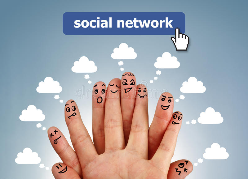 Social network family. Concept finger people in discussion with speech bubbles stock photos