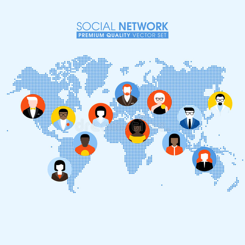 Social network flat concept with communicating people on a map. Social network flat concept with communicating people on a dotted world map vector illustration