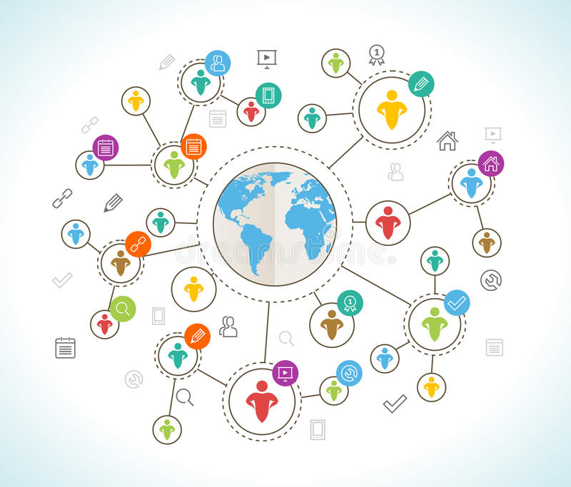 Social Network. Flat design concept with world map stock illustration