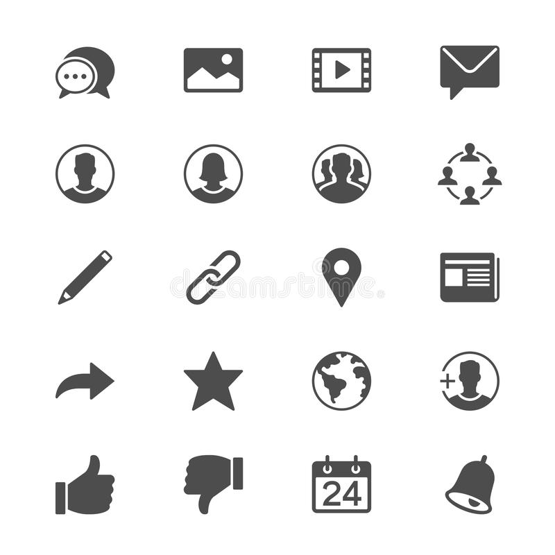 Social network flat icons. Simple, Clear and sharp. Easy to resize vector illustration