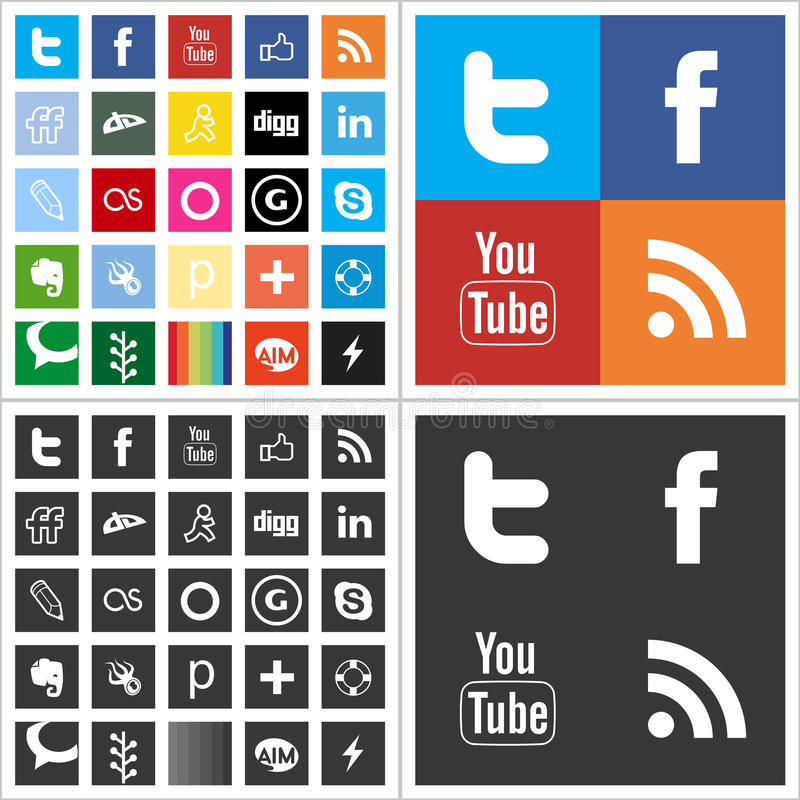 Social network flat multi colored icons royalty free illustration
