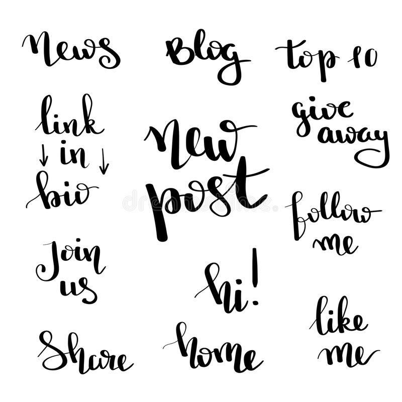 Social network follow me banner designs set. Calligraphy hand drawn text for bloggers. Blog lettering. New post. Social network follow me banner designs set royalty free illustration