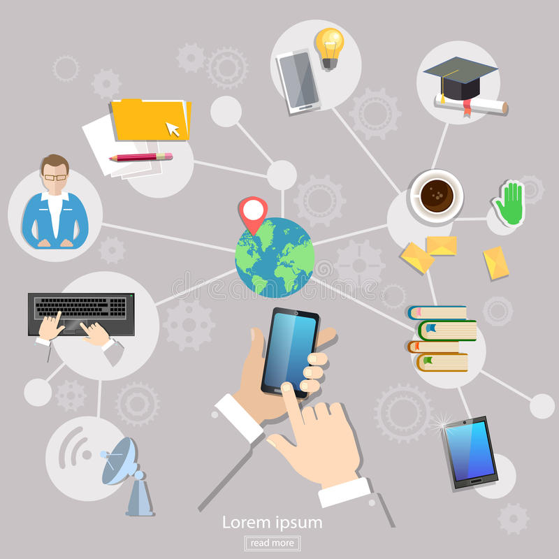 Social network geolocation people communication student. Life touch screen mobile vector illustration