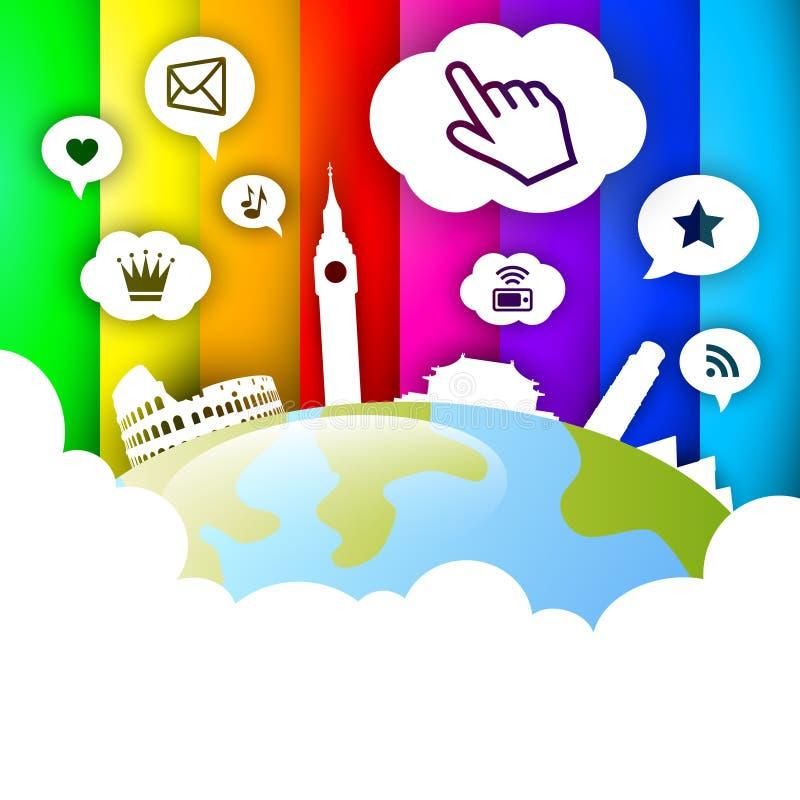 Social Network Globe. With landmarks stock illustration