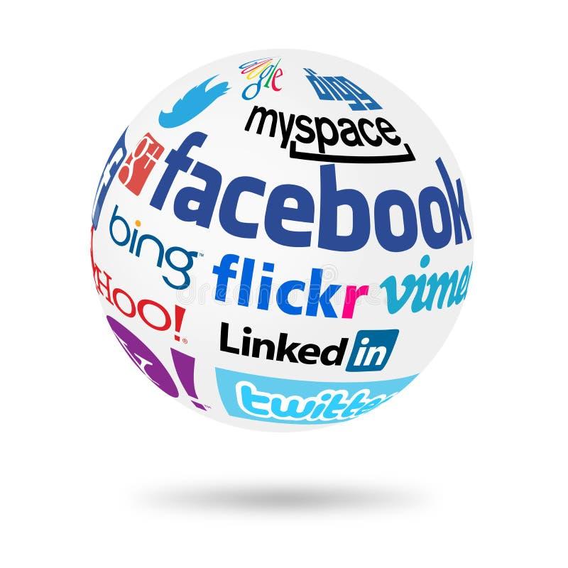Social Network globe. Popular social media networks names on world globe