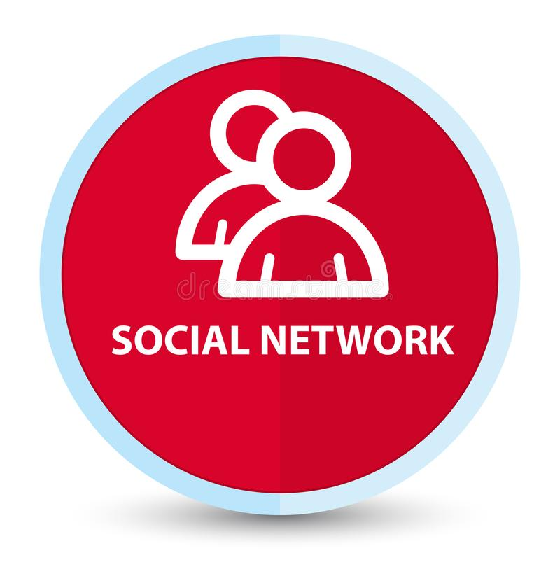 Social network (group icon) flat prime red round button. Social network (group icon) isolated on flat prime red round button abstract illustration stock illustration