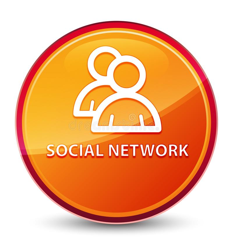 Social network (group icon) special glassy orange round button. Social network (group icon) isolated on special glassy orange round button abstract illustration royalty free illustration