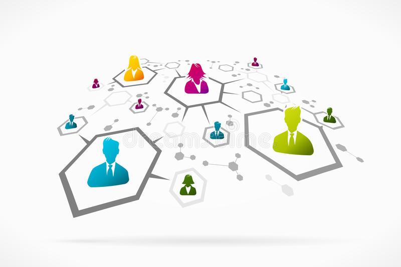Social network. Group of people forming an abstract social network vector illustration