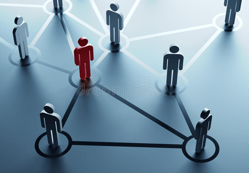 Social network. Group of people talking in the social network stock illustration