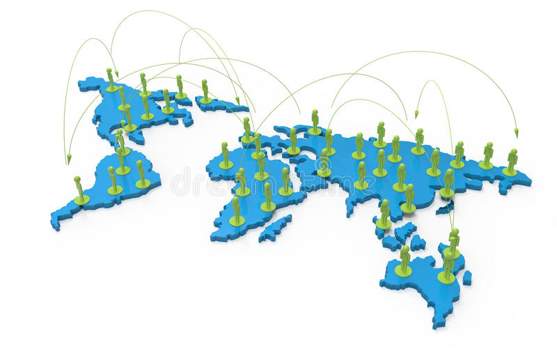 Social Network Human 3d On World Map Royalty Free Stock Photos