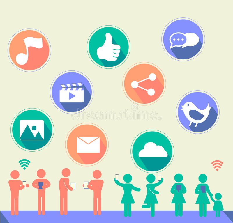 Social network icon with flat design and people with music, thumbup,video,image,bird,image,email,cloud,chat balloon with long stock illustration