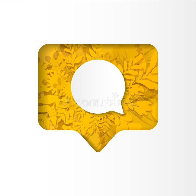 Social network icon follower, new comment, paper cut style. Social network icon new comment,on the yellow plants, grass, leaves and flowers, paper cut style vector illustration