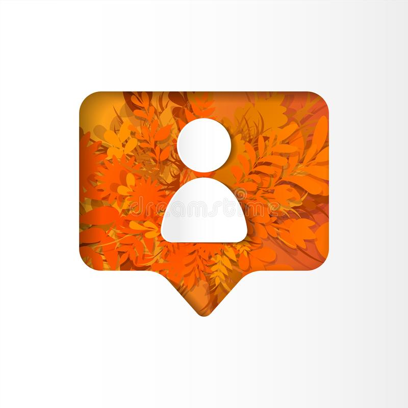 Social network icon new follower, paper cut style. Social network icon follower, new subscriber, on the orange plants, grass, leaves and flowers, paper cut style stock illustration