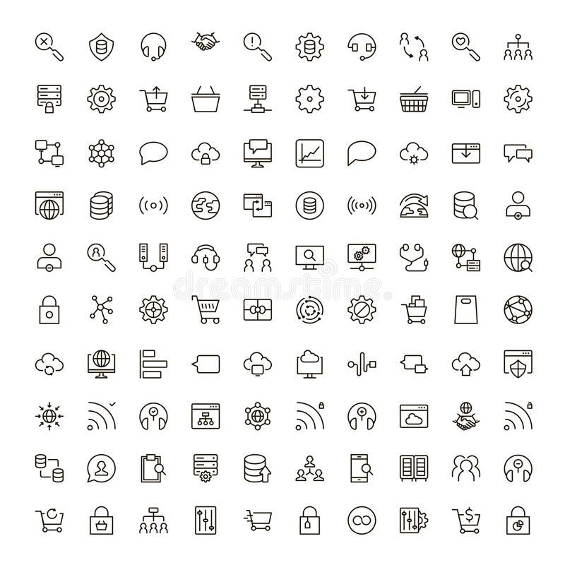 Social network icon. Set. Collection of high quality outline media pictograms in modern flat style. Black internet symbol for web design and mobile app on white vector illustration