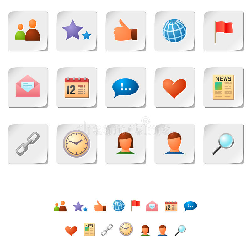 Social network icons. Vector set of social network icons on stickers vector illustration