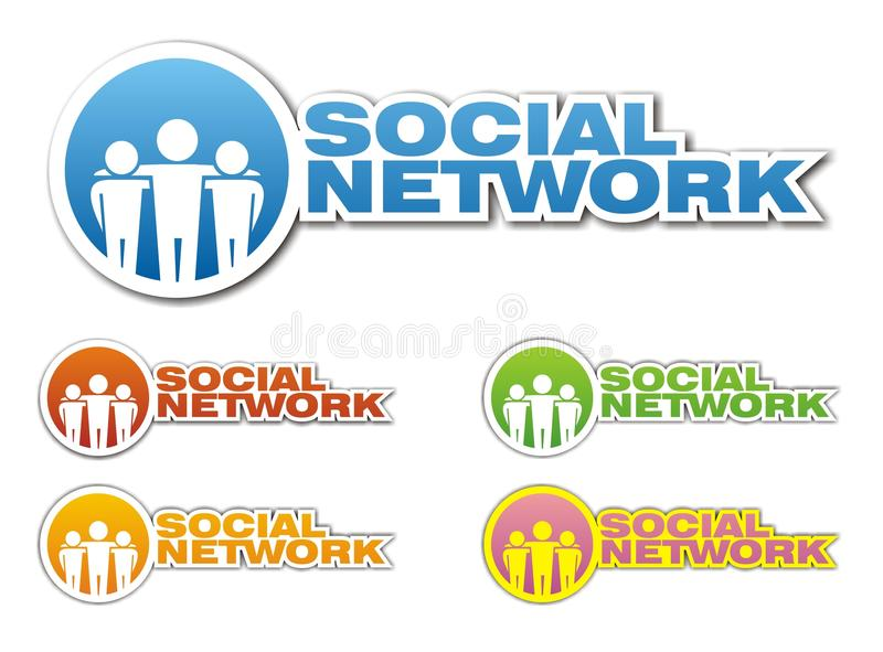 Social network icons. Collection 0f five various color social network icons. Vector illustration vector illustration