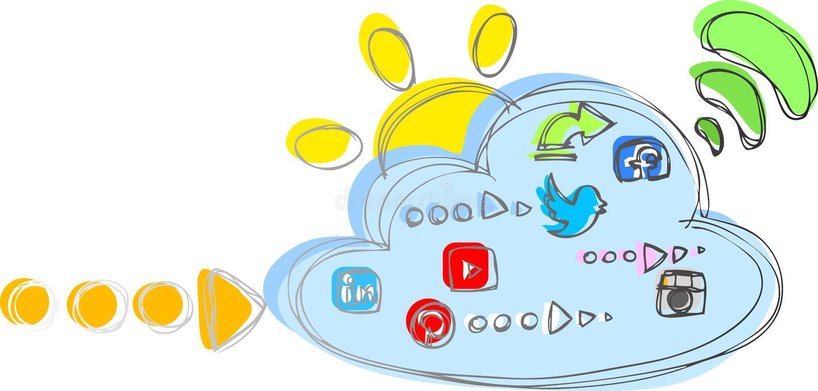 Social network icons and cloud. Cloud with internet and social network icons. Digital vector illustration stock illustration