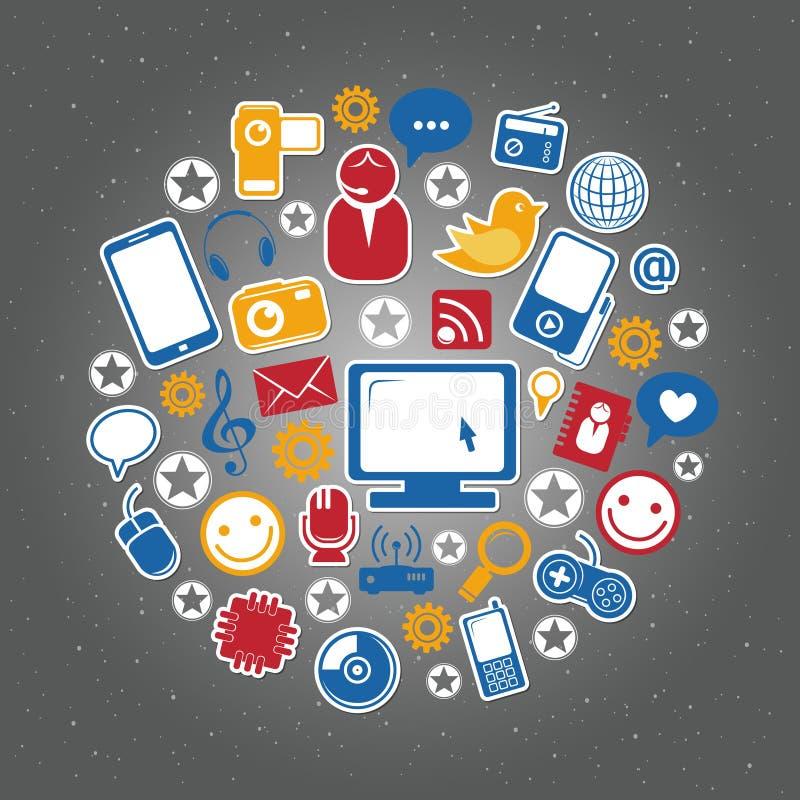 Social network icons. Editable vector set royalty free illustration