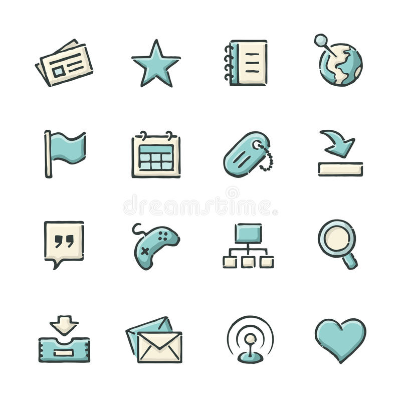 Social Network Icons. Hand drawn blue and beige social network icons. File format is EPS8 vector illustration