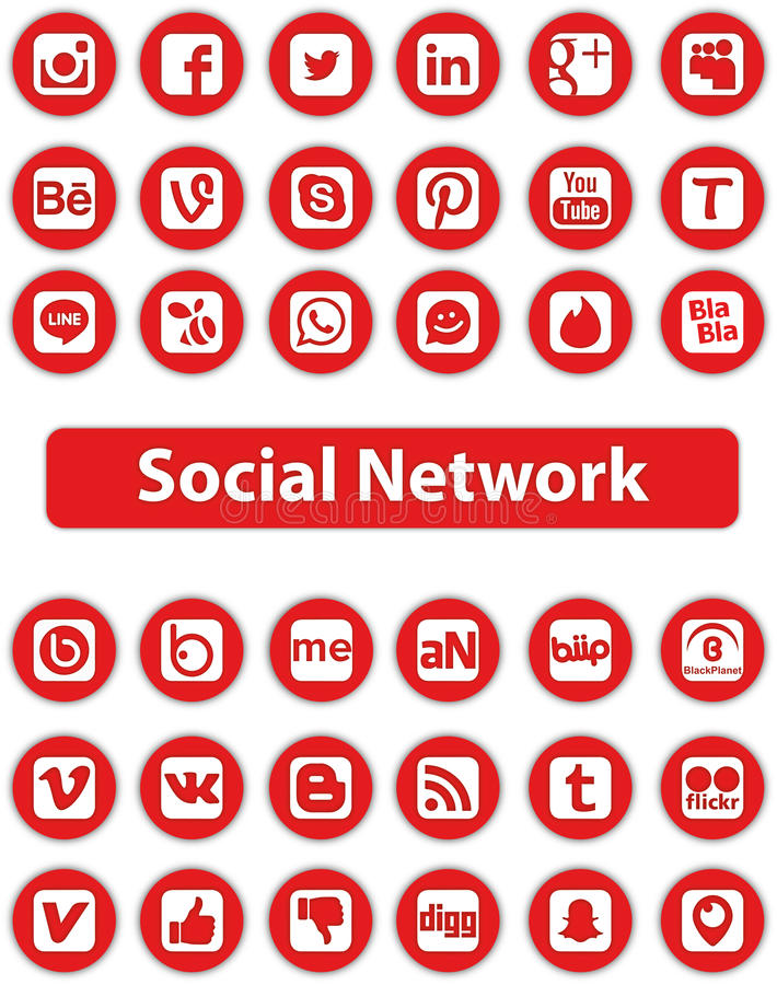 Social Network Icons. Social Network Icon Web Buttons royalty free illustration