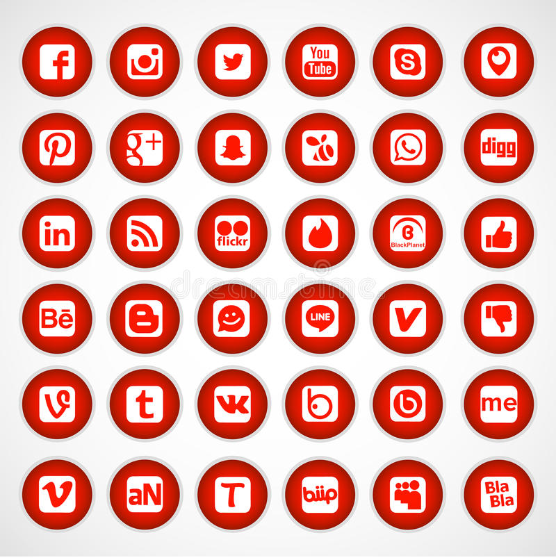 Social Network Icons. Social Network Icon Web Buttons, Vector, Illustration royalty free illustration