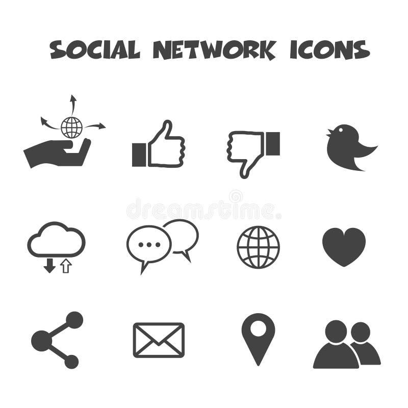 Social network icons. Mono vector symbols royalty free illustration