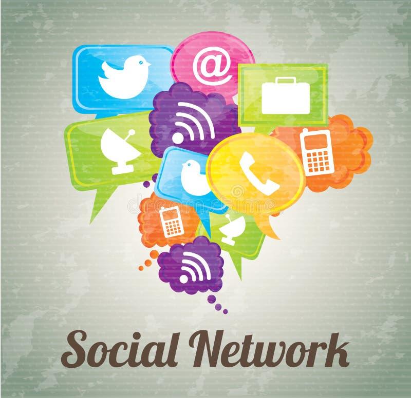 Social Network. Icons over vintage background vector illustration stock illustration