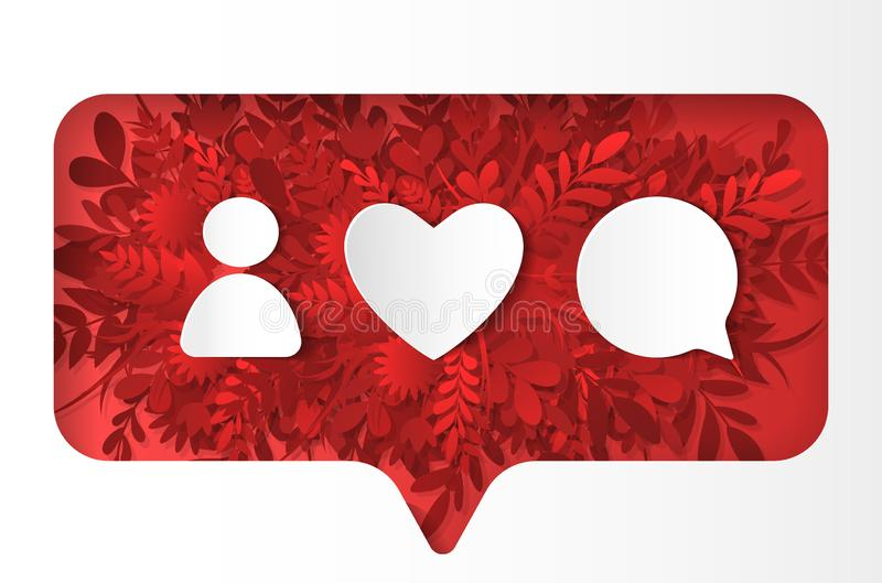 Social network icons pack. Like, comment, followon the red plants, paper cut style. Social network icons pack. Like, comment, follow, on the red plants, grass stock illustration