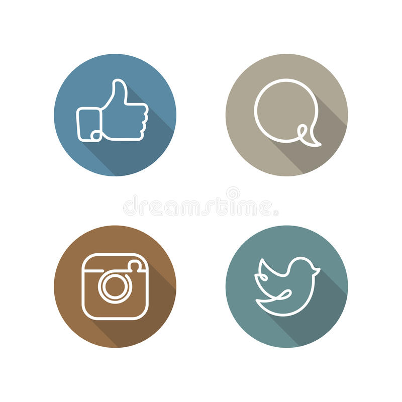Social network icons and stickers set royalty free illustration