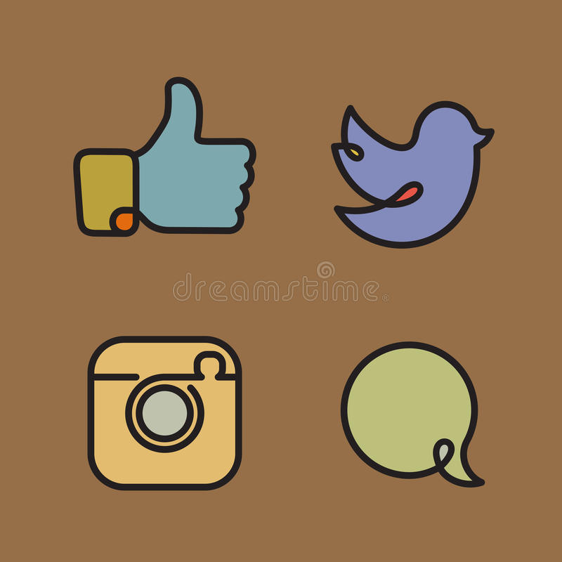 Social network icons and stickers vector illustration