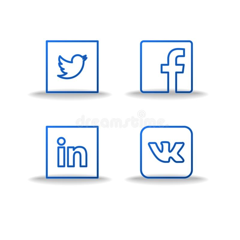 Social network icons and stickers set. Social media flat logo. thin line logo vector illustration