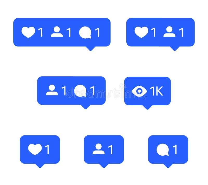 Social network icons, tooltips, speech bubbles, likes, followers and subscribers. Social network icons set, tooltips, speech bubbles, likes, followers and stock illustration