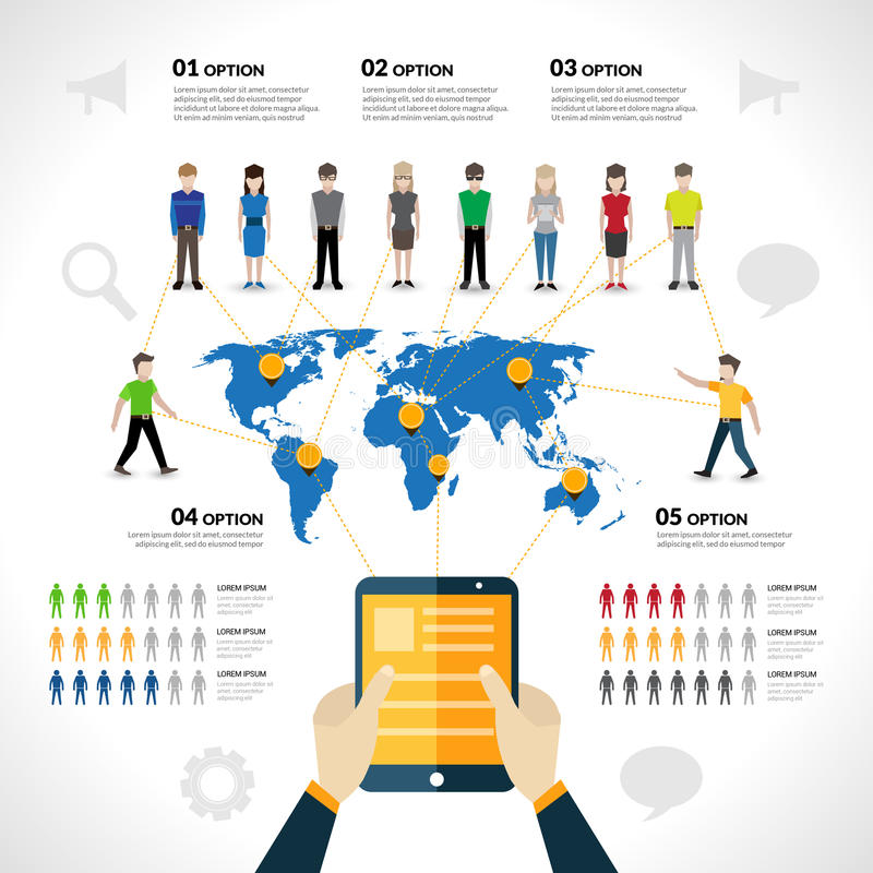 Social network infographics stock illustration