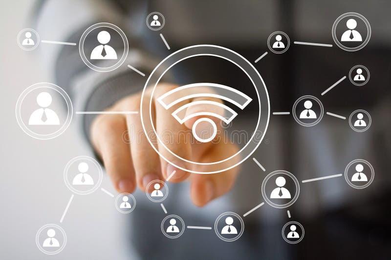 Social Network Interface businessman wifi signal stock image