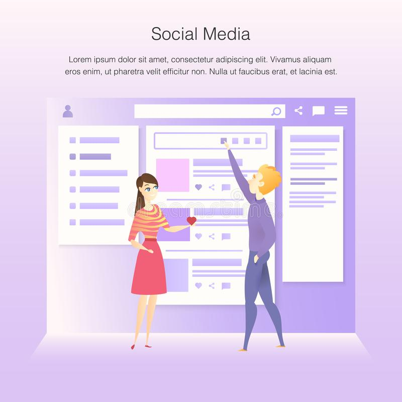 Social Network Interface Wireframe Develop Process. Team Character Construct Project Design Web Interface to Improve User Experience Concept for Website or stock illustration
